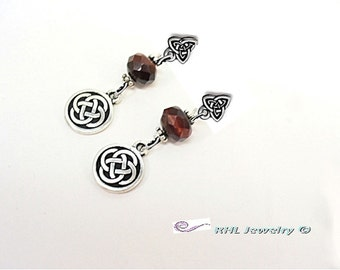 Celtic Earrings, Mahogany Obsidian Earrings, Post Earrings, Celtic Jewelry, Gaelic Jewelry E0910-03A