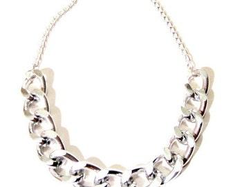 Silver Statement Necklace. Statement Chain Necklace. Chunky Chain Necklace. Silver Link Necklace. Chunky Silver Chain.