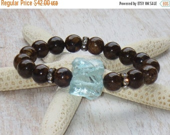 ON SALE Boho Chic Aqua Quartz and Bronzite Gemstone Bead Layering Stretch Bracelet