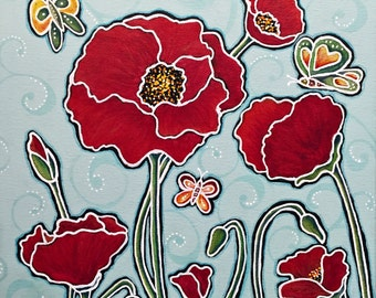 7 Red Poppies Giclee Print 10x10 Mixed Media