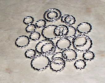 6, 8, 10MM Fancy Twist Bright Silver Plated Open Jump Rings - 16 Gauge