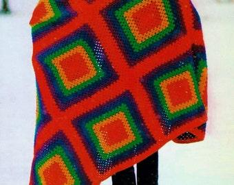 Rainbow Granny Squares Afghan Vintage Crochet Pattern Instant Download