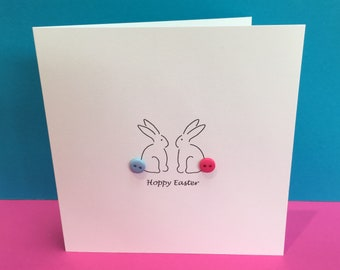 Hoppy Easter - Easter Card - Cute Easter Bunny Card - Button Tails - Rabbit - Paper Handmade Greeting Card - Etsy UK