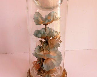 Glass Candle Holder with Enclosed Flowers. 'Starflower Lite' Candle Creations