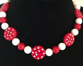 Red White Lucite Polka Dot Bead Necklace