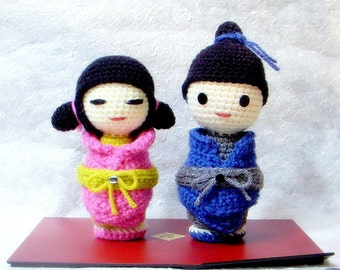 Amigurumi pattern - Little Sister N Brother - Crochet Kokeshi doll tutorial PDF