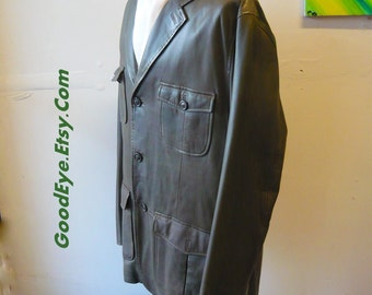 Vintage Men's Leather Jacket /  Large Joseph Aboud / Olive Green SAFARI Coat./ Glove Soft Lots of POCKETS size XL
