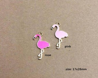 10PCS, 17x28mm, Enamel Charm, Flamingo Charm, Animal Charm, Bird Flamingo, Gold Tone, Jewelry Charm