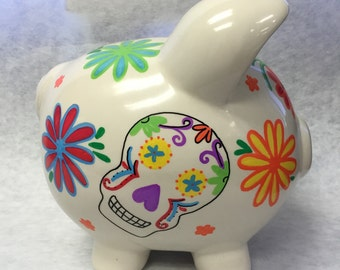 Personalized Piggy Bank Calaveras