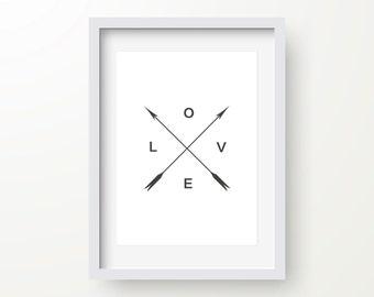 Love Arrow Print, Black And White, Nursery Print, Inspirational Quote, Motivational Typography, Modern Art, Digital Wall Print