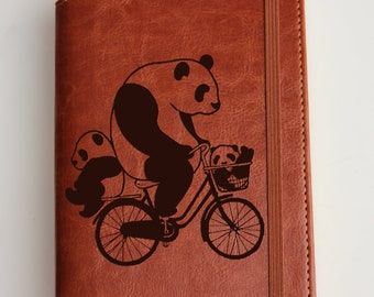 Panda riding bicycle  Journal with custom quote or custom text leather bound with elastic strip