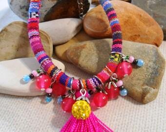 Pink Tassel Bracelet Shamballa Charm bracelet Agate Jade Glass Layering bracelet Boho Tribal Ethnic Vegan Aguayo Gifts under 20 For her
