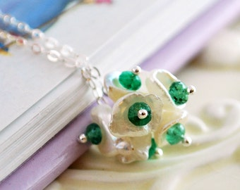 Genuine Emerald Necklace Child Children Sterling Silver Jewelry Deep Green May Birthstone Keishi Pearl Blossom Flower Girl