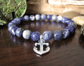 Mens Anchor Bracelet - Sodalite Bracelet for Men with Silver Anchor Charm, Nautical Blue Bracelet for Calm, Faith and Grounding