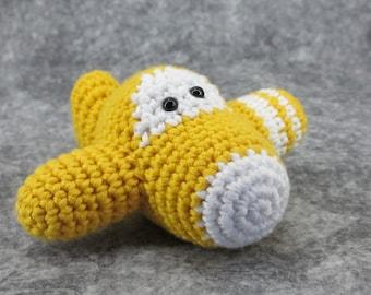Amigurumi airplane rattle crochet baby toy - organic cotton - yellow and white