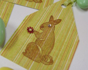 4 Gift Tags. Easter, Bunny, Rabbit with a Pearl Centered Flower. Sparkle Eyes.