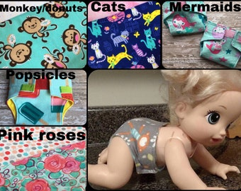 Baby Alive Diapers//reusable doll diapers//washable toy diapers//cloth doll diapers//American Girl diapers//