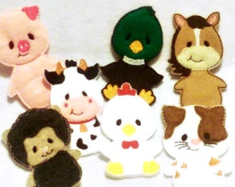 Felt quiet book - Toddler quiet book - Quiet book page - Toddler busy book - Felt busy book - Barn page with 7 finger puppets #QB71