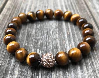Tigers Eye Bracelet, Healing Bracelet, Tigers Eye Stone, Mala Bracelet, Chakra Jewelry, Yoga Jewelry, Mala 108, Healing Crystals and Stones
