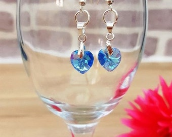 Swarovski Elements Aquamarine Earrings, Swarovski Crystal Heart Earrings, Dangle Swarovski Earrings, Crystal Heart Earrings, Crystal Jewelry