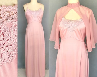 dulcet / 1970s pink sleeveless maxi dress with sheer capelet / 6 8 small