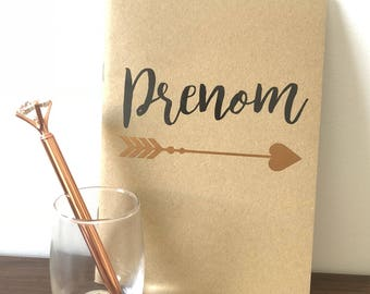 Rose gold arrow personalized notebook and pen (optional)