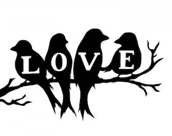 """5"""" Love Birds Vinyl Window Decals"""