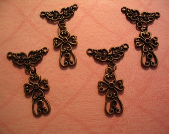 6 Filigree Crosses Charms with Connector Jewelry or Craft Supplies