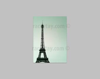 Paris Wall Art, Black and Mint Eiffel Tower Print, Paris Wall Decor, Eiffel Tower Wall Art 11x14 8x10