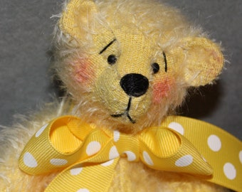Complete yellow Mohair Teddy Bear kit and Pattern