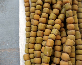 small glass beads rustic opaque matte yellow orange , irregular tube barrel New Indo-pacific - 4 to 6mm (10 inches strand ) 7ab59