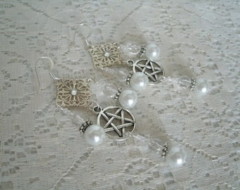Pentacle Earrings, wiccan jewelry pagan jewelry wicca jewelry goddess jewelry witch metaphysical witchcraft pentagram