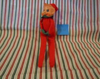 Knee Hugging Blue Eyed Christmas Elf -Made In Japan -  Vintage  - #106