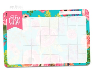 Ella Floral. Personalized Monthly Desk Calendar. Monthly Planner. Desk Calendar.