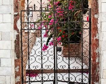 Santorini Photography - Iron Gate Photograph - Fuschia Flowers - Greece- Travel Photo - Wall Art - Home Decor - White Print Greek