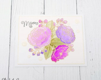Mothers Day Card, Birthday Card, Card For Mom, Happy Mothers Day, Floral Bouquet, Watercolor, Handmade Greeting Cards