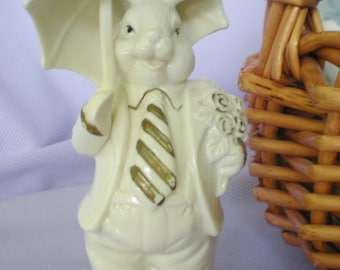 Spring Home Decor, Easter Bunny Figurine, White Ceramic Bunny,