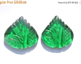 25% OFF Summer Sale 2 Pcs Matched Pair Very Nice Green Quartz Hand Carved Leaves Loose Gemstone Size - 21X21 MM