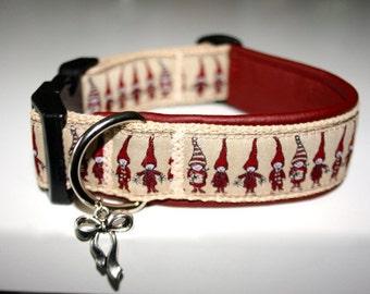 """Dogs buckle beige bordeaux leather """"IMP"""" collar dog collar"""