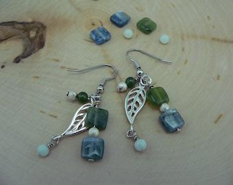 Reiki Healing Earrings, Blue Kyanite Earrings, Jade and Amazonite Earrings, Confidence Earrings, Balance and Alignment Earrings