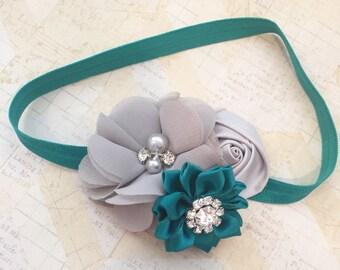 Emerald and silver headband,emerald headband,holiday headband,winter headband,girls headbands,fancy headbands,flowergirl headbands,wedding
