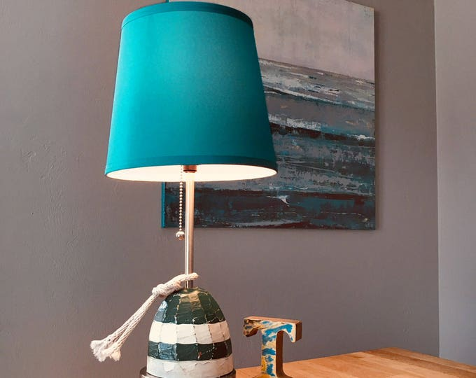 Nautical Accent Lamp Turquoise Wood Buoy Rope Beach Decor by SEASTYLE
