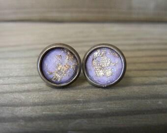 Lavendar with Gold Flecks Stud Earrings