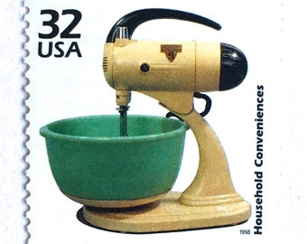 5 Vintage Baking Mixer Stamps // Vintage Kitchen Mixer // 32 Cent Postage Stamps for Mailing