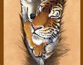Wolf and Tiger Couple Feather Print