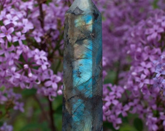 Natural Polished Labradorite Crystal Wand Tower Home Decor Rock Stone Minerals Carved Gemstones