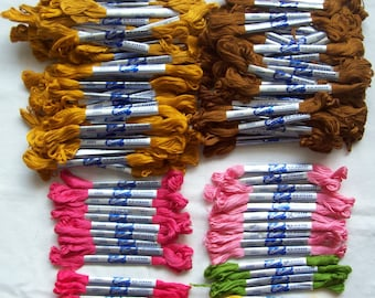 200 Skeins Bucilla Embroidery Floss Yellow Gold Browns Pink