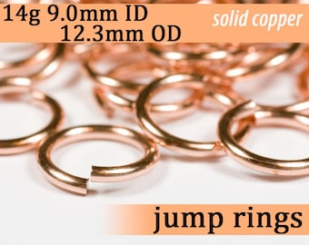 14g 9.0 mm ID 12.3 mm OD copper jump rings -- open jumprings 14g9.00 links