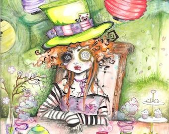 The Mad Hatter Fine Art Print Alice in Wonderland Trippy Tea Party