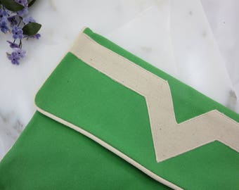 Green Canvas Clutch Purse - Fold Over Clutch Envelope Bag, White Accent, New Old Stock